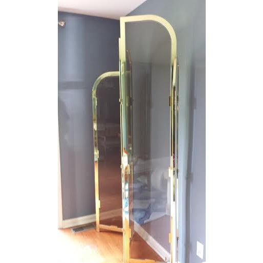 Brass & Smoked Glass Room Divider - Image 4 of 8