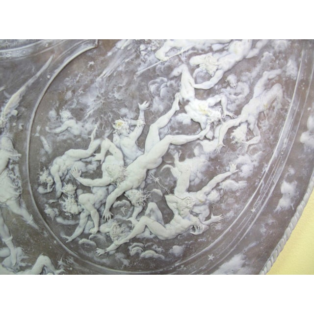 Milton Cameo Shield Poem Paradise Lost War in Heaven Scene Agate Wall Hanging For Sale In Portland, OR - Image 6 of 10