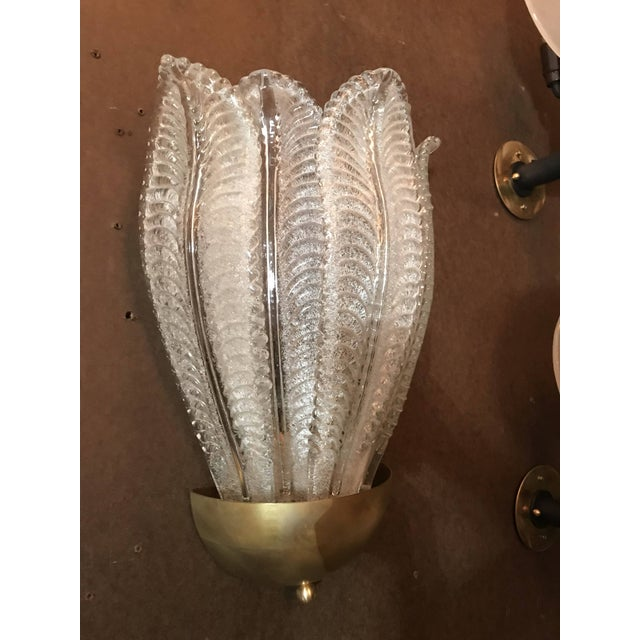 Italian Two Pairs of Barovier E Toso Murano Glass Leafy Sconces For Sale - Image 3 of 10