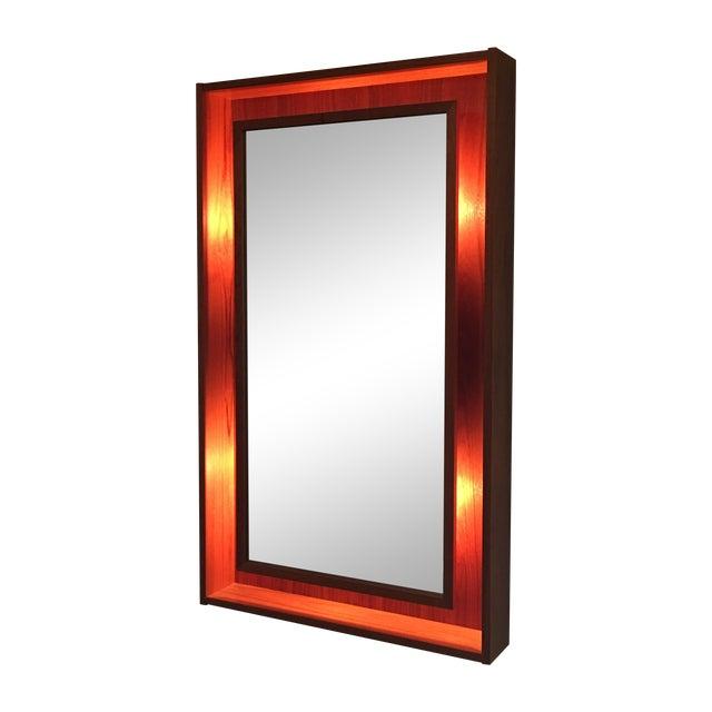 Backlit Teak Framed Mirror by Pedersen & Hansen - Image 1 of 4