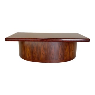 Mid Century Curved Front Rosewood Executive Desk by Dyrlund For Sale