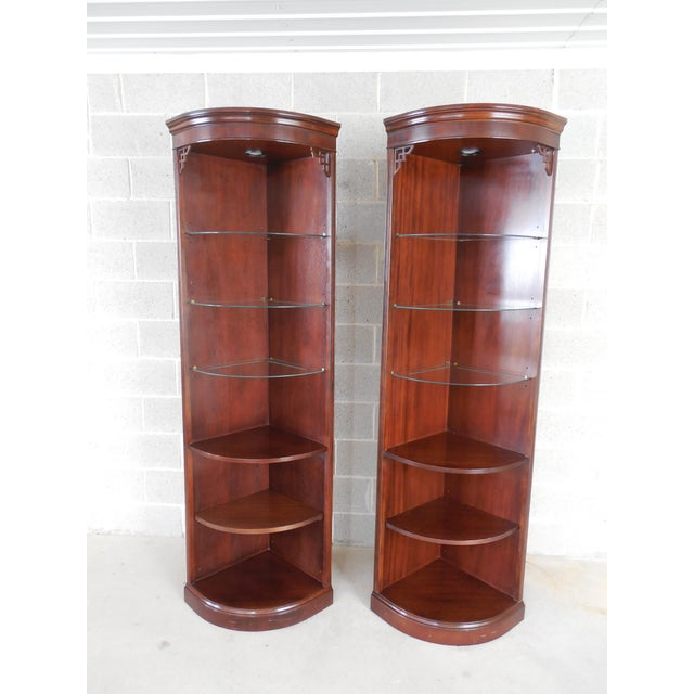 Drexel Chippendale Mahogany Lighted Corner Cabinets - A Pair - Image 2 of 10