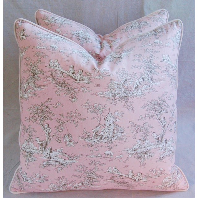 Designer French Pink Toile & Velvet Feather/Down Pillows - Pair - Image 3 of 11