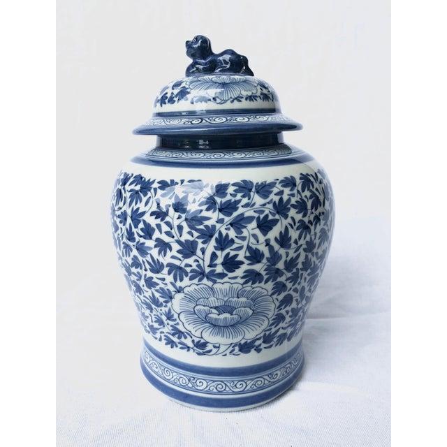 Ceramic Blue and White Porcelain Jar With Foo Dog Lid For Sale - Image 7 of 7