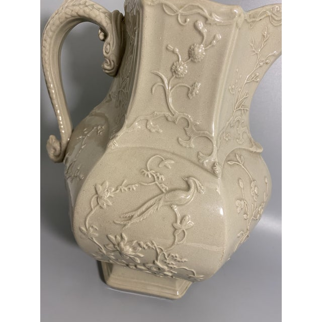 Mason's Ironstone Antique Irwin and Lane Chinoiserie Bas-Relief Mason's Ironstone Pitcher For Sale - Image 4 of 7