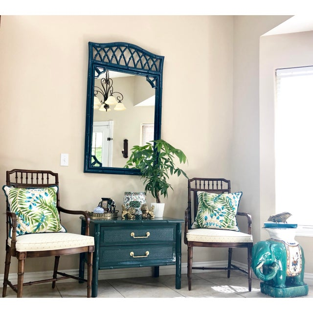 Turquoise Thomasville Faux Bamboo High Gloss Sapphire Blue Mirror For Sale - Image 8 of 10
