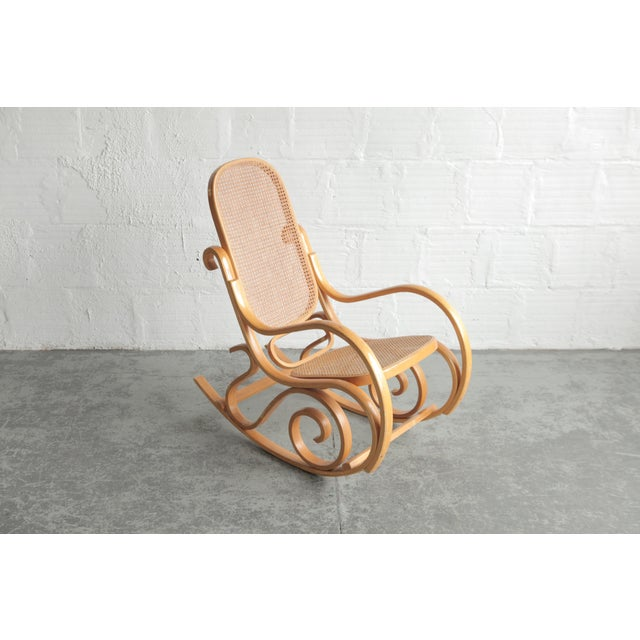 Late 20th Century Vintage Rattan Rocking Chair For Sale In Portland, OR - Image 6 of 6