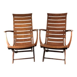 Vintage 1990s French Folding Rosewood Lounge Chairs by Triconfort - a Pair For Sale