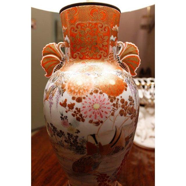 White Japanese Satsuma Ware Vase Lamp For Sale - Image 8 of 11