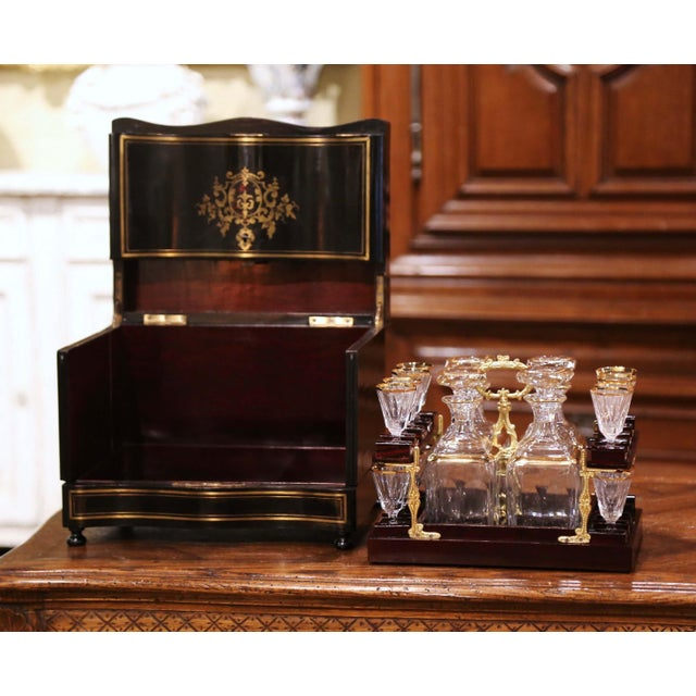 19th Century French Napoleon III Mahogany and Bronze Inlaid Liquor Box For Sale - Image 9 of 13