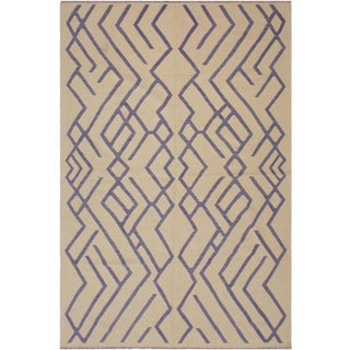 Bauhaus Angila Hand-Woven Kilim Wool Rug - 6'8 X 9'6 For Sale