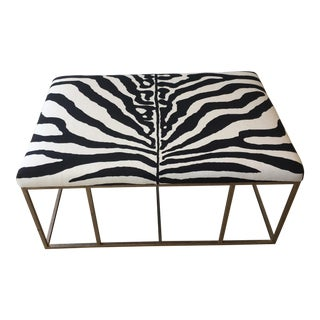 Scalamandre Zebra Linen & Silver Leaf Ottoman/Coffee Table