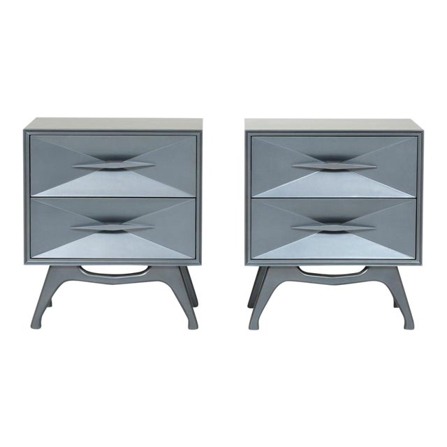1960's Bedroom Set : Steel Grey Metallic Lacquer Two-Drawer Bedside Chests For Sale