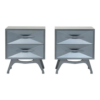 1960's Steel Grey Metallic Lacquer Two-drawer Bedside Chests