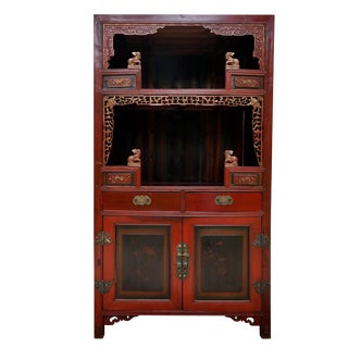 Carved Asian Sideboard in Red For Sale