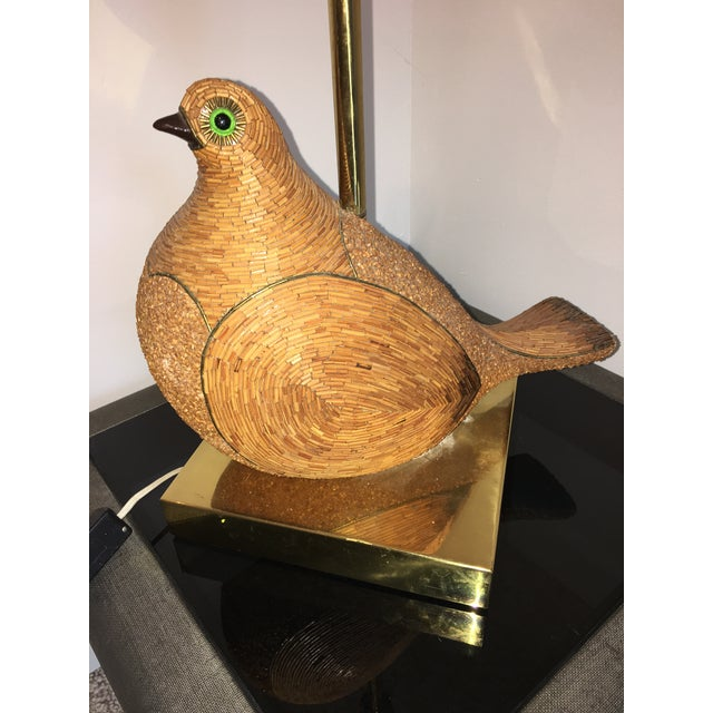 Metal AMAZING ITALIAN MODERNIST CERAMIC PARTRIDGE WITH TORTOISE SHELL LUCITE SHADE For Sale - Image 7 of 8