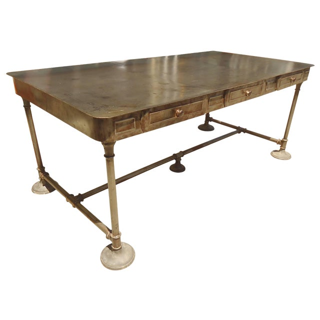 Large Industrial Metal Desk For Sale