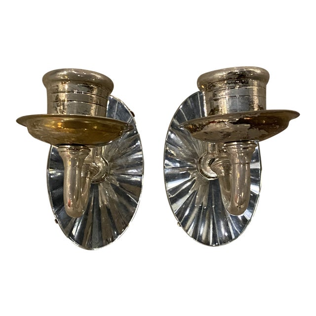 1920s Silver Plated Mirrored Sconces - a Pair For Sale