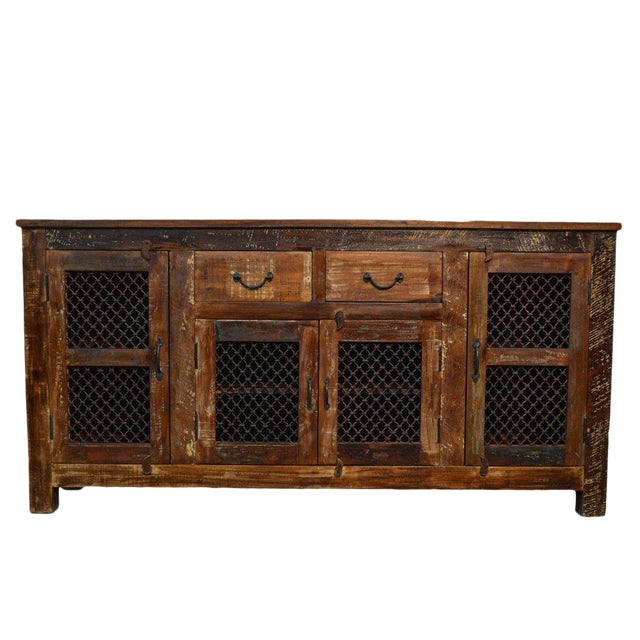 Reclaimed Wood & Iron Sideboard For Sale