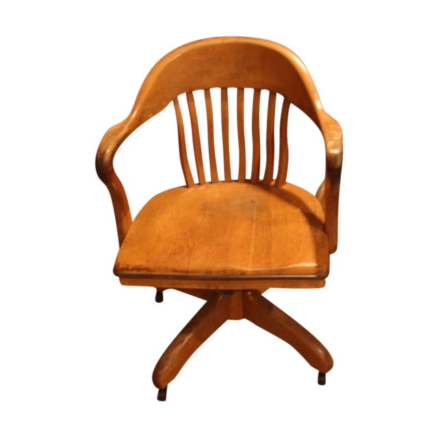 Antique Office Chair With Casters - Image 1 of 3