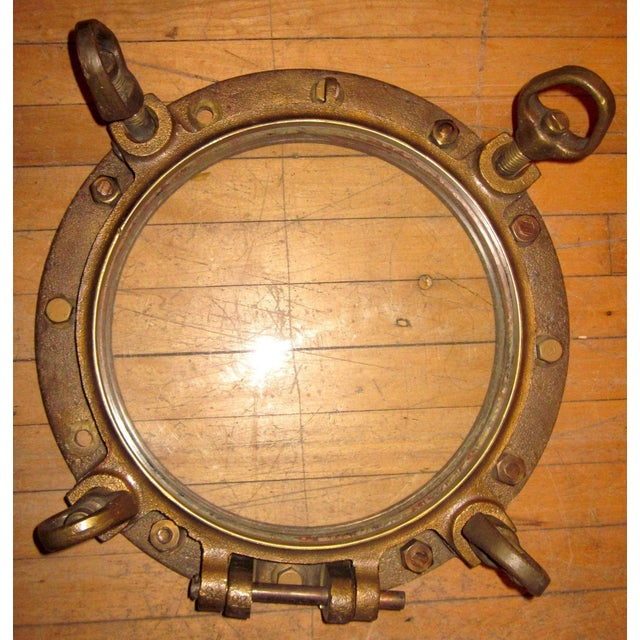 Gold 1910s Nautical Brass Maritime Portholes - a Pair For Sale - Image 8 of 10