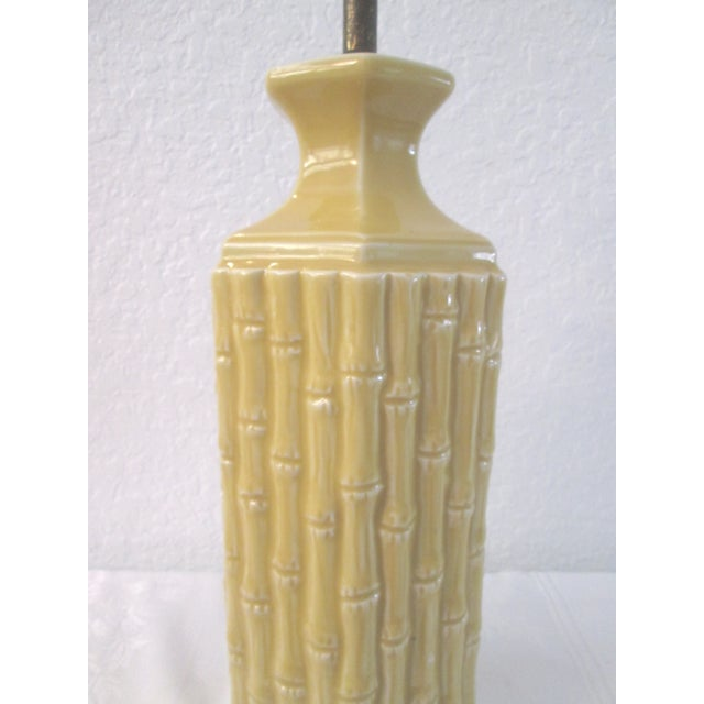 Midcentury Yellow Bamboo Design Table Lamp - Image 4 of 7