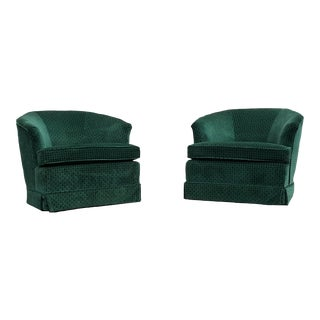 Mid-Century Green Barrel Chairs - A Pair
