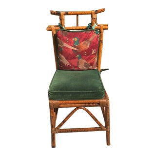 Chinoiserie Bamboo Chair With Velvet Bird Cushion For Sale