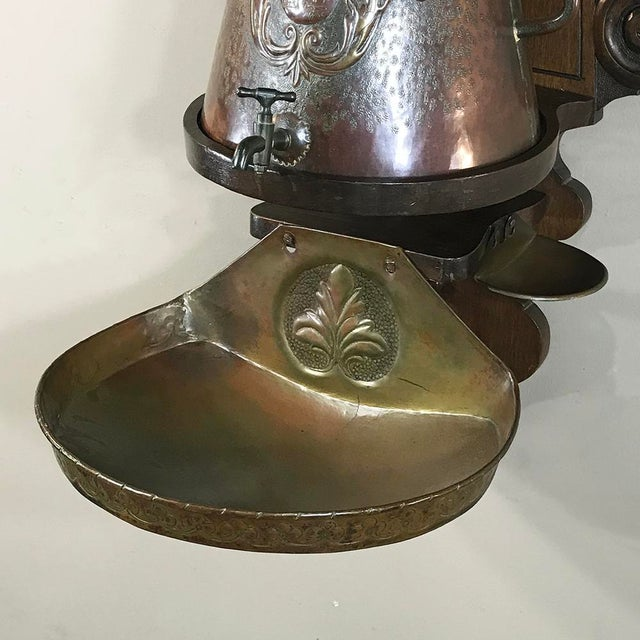 Copper 19th Century French Fleur De Lys Embossed Copper Wall Fountain on Original Wood Plaque For Sale - Image 8 of 12