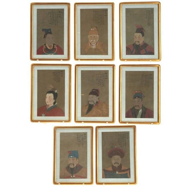 Silk Early 20th Century Antique Chinese Ancestral Portrait Paintings- Set of 8 For Sale - Image 7 of 7