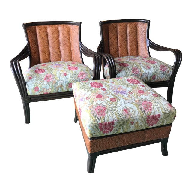 Palecek Rattan and Woven Wicker Pair Chairs and Ottoman For Sale
