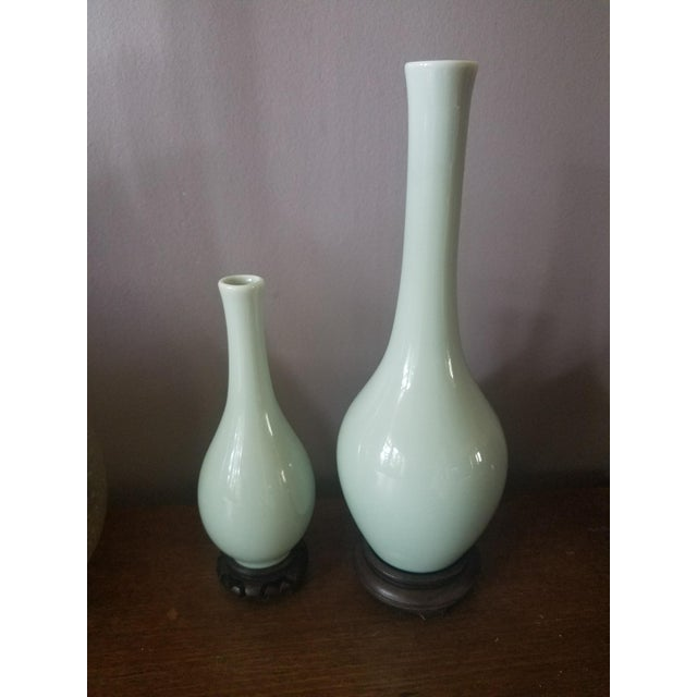 Celadon Glazed Porcelain Vases - a Pair - Image 4 of 5