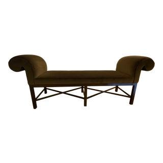 Baker Furniture Thomas Pheasant Brown Velvet Scroll Arm Bench For Sale