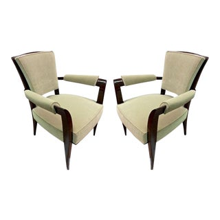 Maison Dominique Chic Pair of Armchairs, Newly Reupholstered in Velvet For Sale
