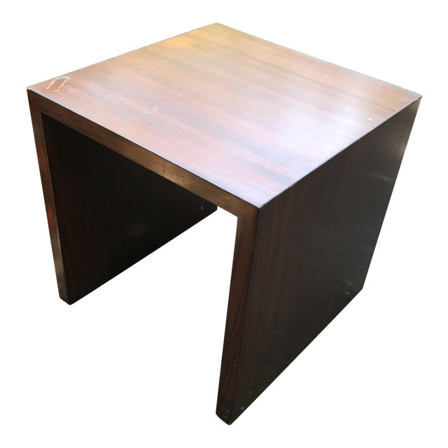 Mid-Century Modern Wood Veneer Waterfall Table For Sale