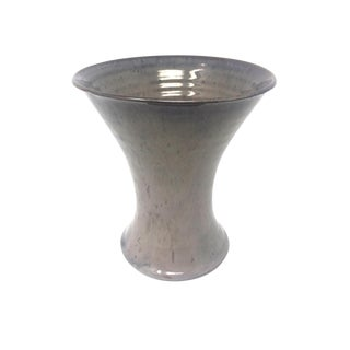 Taupe Pottery Flared Ikebana Vase For Sale