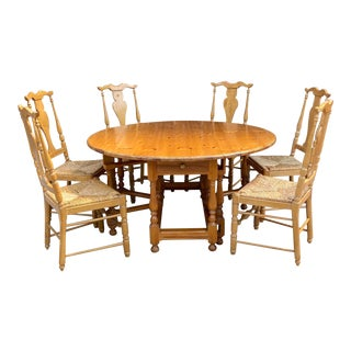 Mid 20th Century English Pine Gate-Leg Drop-Leaf Dining Set - 7 Pieces For Sale