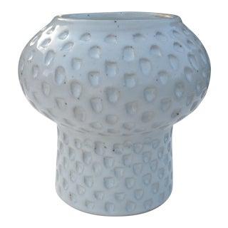 White Stoneware Carved Ceramic Vase II | Modern Pottery For Sale