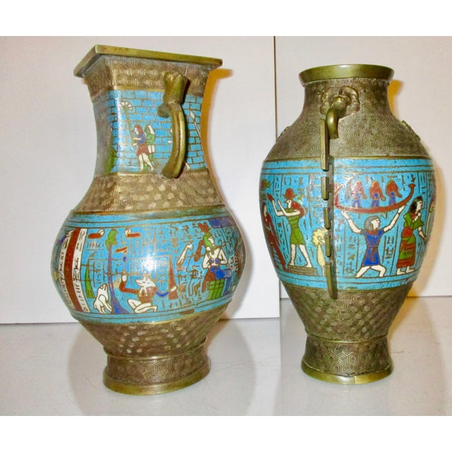 Japanese Bronze And Enamel Vases In Egyptian Motif A Pair Chairish