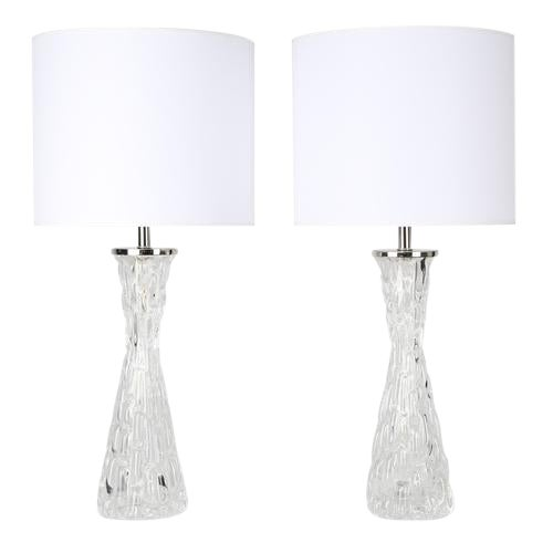 1970's VINTAGE CARL FAGERLUND FOR ORREFORS CLEAR GLASS LAMPS-A PAIR For Sale
