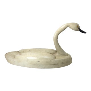 Antique Large Size Carved Wood Folk Art Swan Figure For Sale