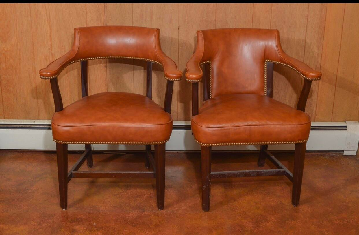 Traditional Vintage Leather Captainu0027s Chairs   A Pair For Sale   Image 3 Of  10