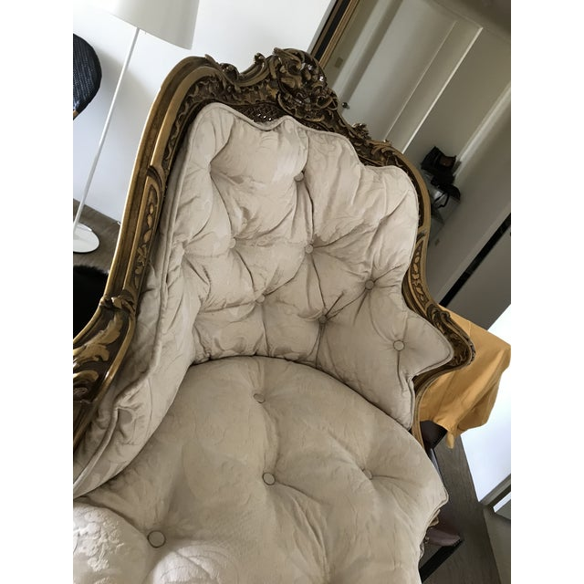 Early 20th Century Antique French Caned Tufted Tete' Te Settee For Sale In San Francisco - Image 6 of 13