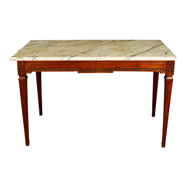 Mahogany Console with Marble Top For Sale