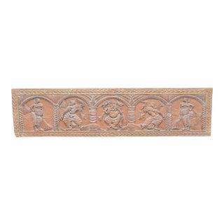 1970s Indian Ganesh Shiva Hindu Faux Carved Wood Wall Panel Headboard For Sale