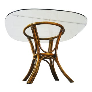 Vintage 1960s Rattan & Glass Top Dining Table For Sale