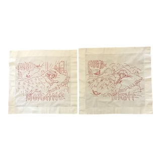 Vintage Hand-Embroidered Good Morning/Good Night Pillow Shams - Set of 2 For Sale