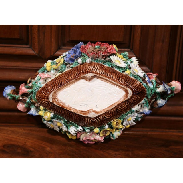 19th Century French Hand-Painted Oval Barbotine Jardinière With Flowers For Sale - Image 9 of 10