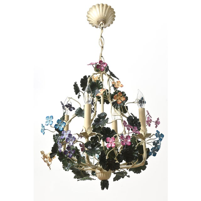 Tole Flower Chandelier with multicolor flowers. Restored original finish, completely rewired, cleaned and ready to hang....