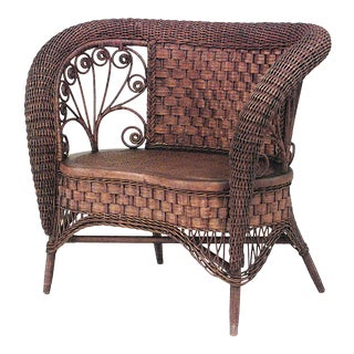 American Victorian Wicker Loveseat For Sale